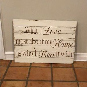 "Word art Rustic brown white ""What I Love Most..."""